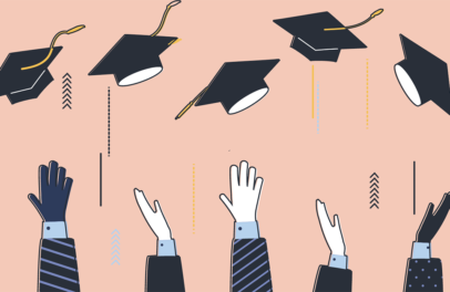 Conceptual depiction of foreign graduates throwing graduation caps in the air