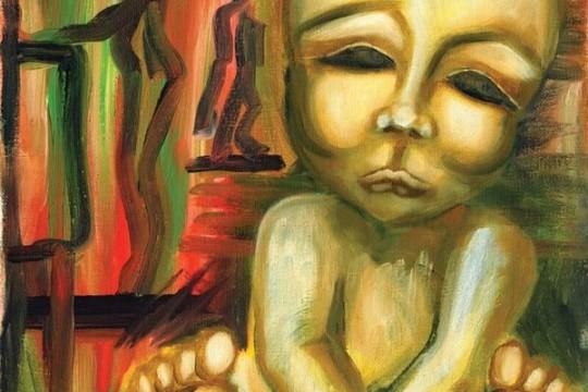 Illustration of maternal depression after having child