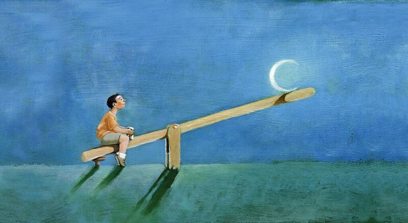 illustration of a child on a seesaw with sleeping problems
