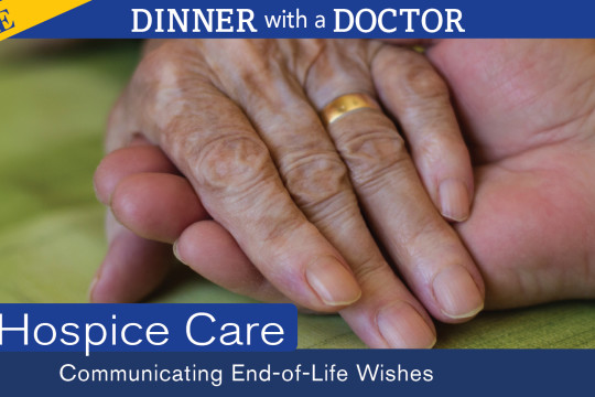 Image of dinner with a doctor: two people holding hands