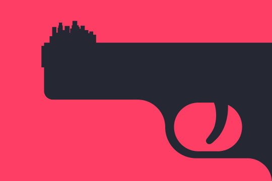Graphic-style image of gun with a city on its tip - a symbol of teen gun violence