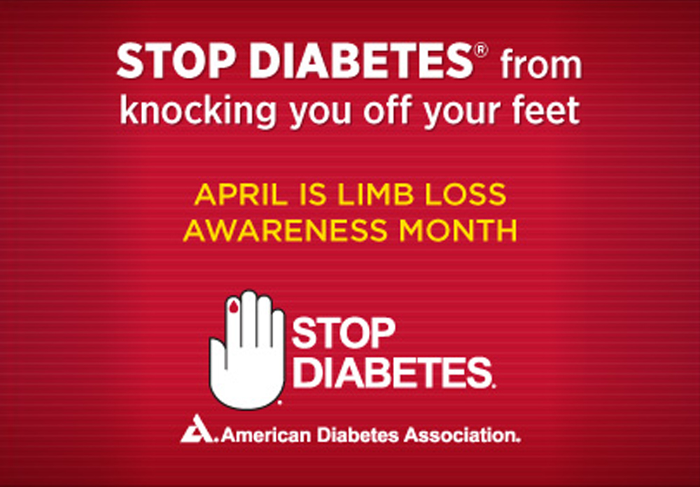 Image from the American Diabetes Association with a hand making a stop sign
