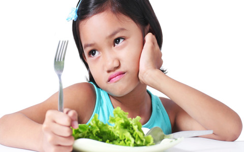Girl being a picky eater
