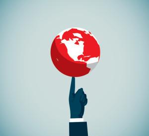 Image of world on finger