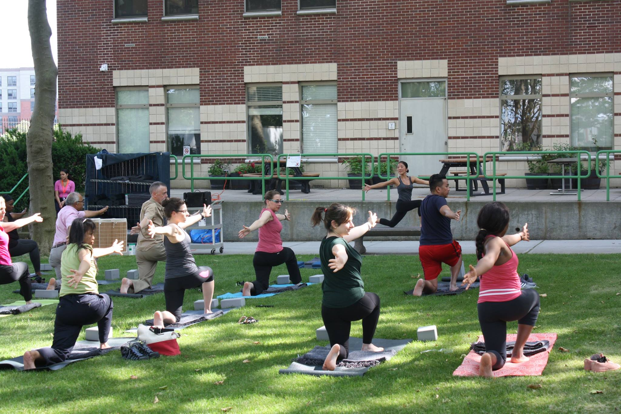 Image of Dr. J. Robin Moon Leading a Yoga Class for Employees at St. Barnabas Hospital