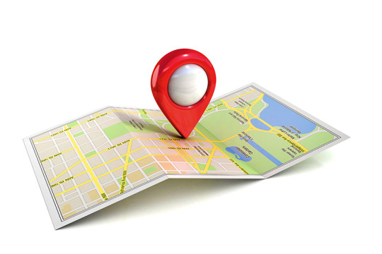Illustration of pin on map, taking the time to reax on the travel to work
