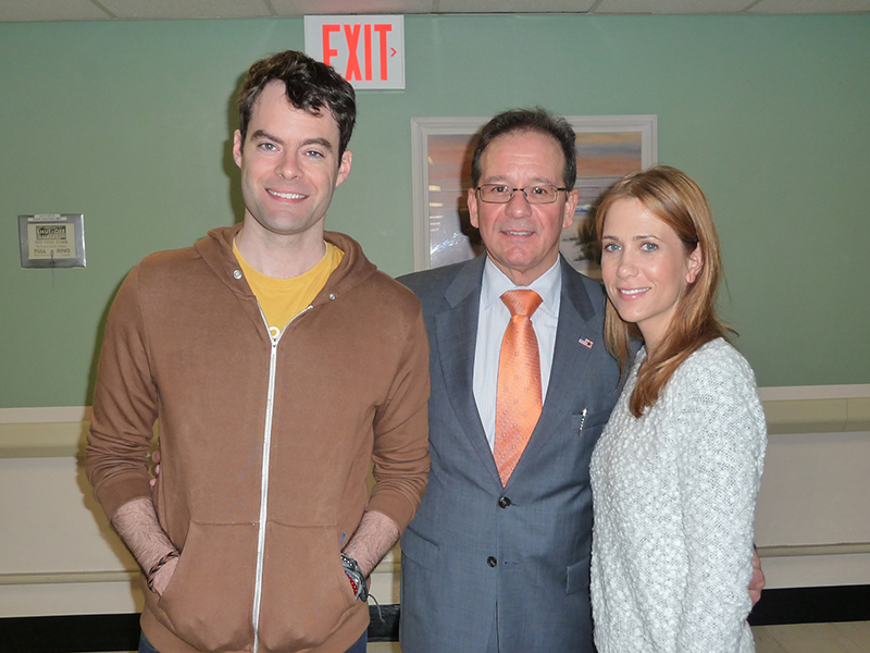 Image of Bill Hader and Kristen Wiig at St. Barnabas Hospital